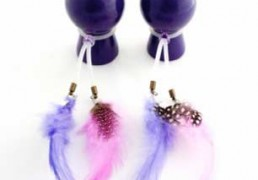 PURPLE NIPPLE SUCKERS WITH COLOURED FEATHERS