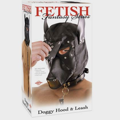 FETISH FANTASY DOGGY HOOD AND LEASH BLACK