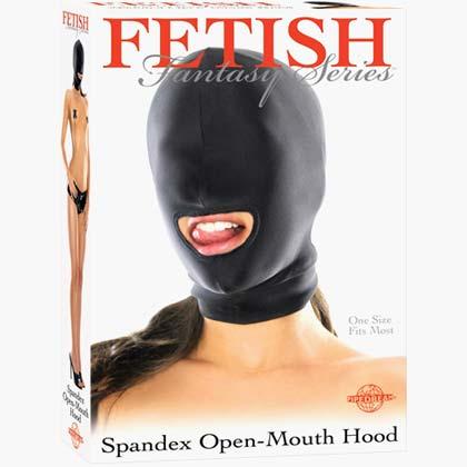 Fetish Fantasy Spandex Hood Open Mouthed Black