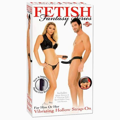 6 INCH FETISH FANTASY VIBRATING HOLLOW STRAP-ON BLACK